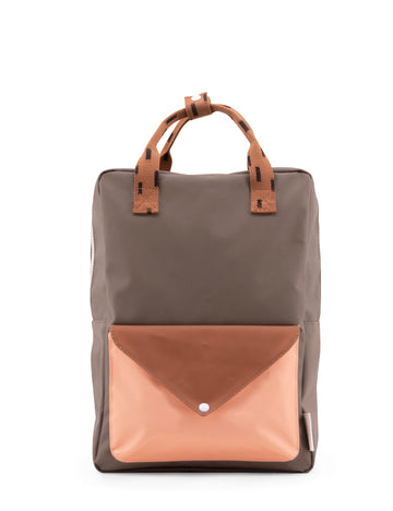 Sticky Lemon Sprinkles Envelope Large Backpack, Moss Green/Cinnamon Brown/Lemonade Pink