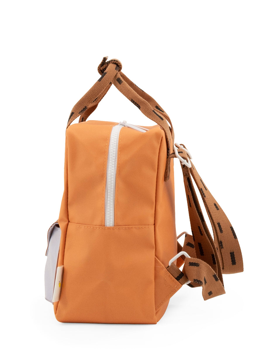 Sticky Lemon Sprinkles Envelope Small Backpack, Apricot Orange/Cinnamon Brown/Lavender