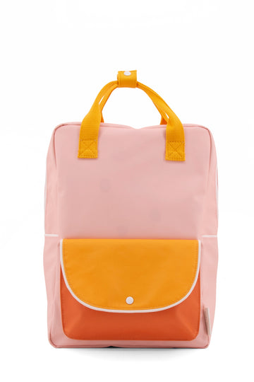 Sticky Lemon Wanderer Envelope Large Backpack, Candy Pink/Sunny Yellow/Carrot Orange