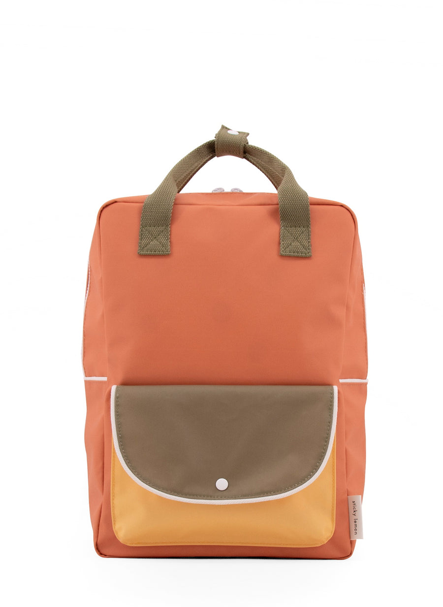 Sticky Lemon Wanderer Envelope Large Backpack, Faded Orange/Seventies Green/Retro Yellow