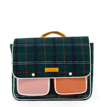 Sticky Lemon Wanderer School Bag, Forest Green Checks