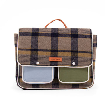 Sticky Lemon Wanderer School Bag, Sandy Beige Checks