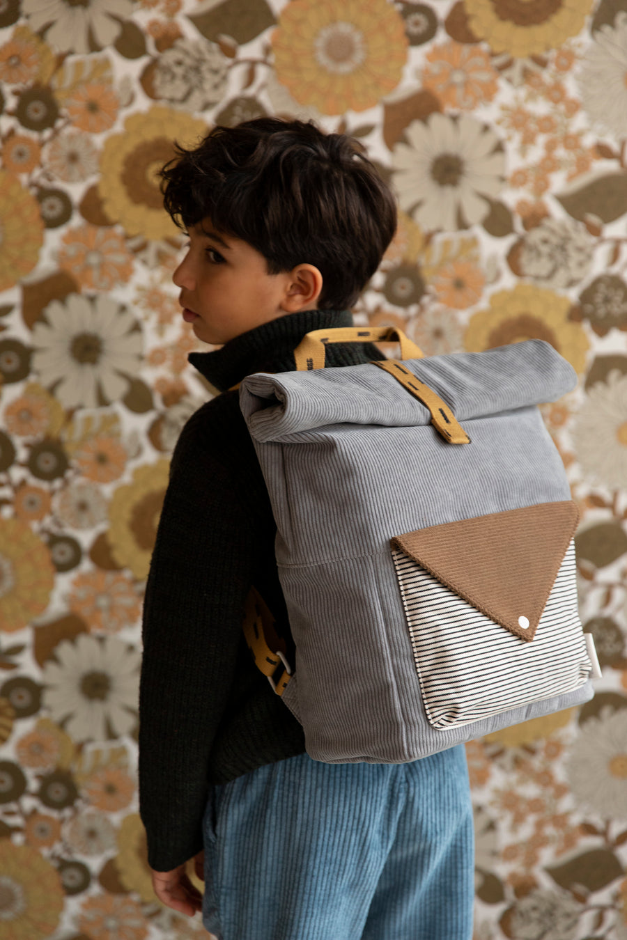 Sticky Lemon Corduroy Collection Large Backpack, Pigeon Blue/Woody Green/Panache Gold