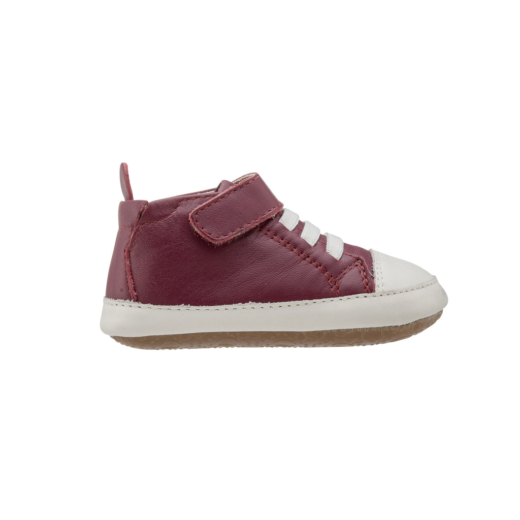 Old Soles Boy's and Girl's Kix Shoe Burgundy White Soft Leather Hook and Loop First Walker Baby Shoes