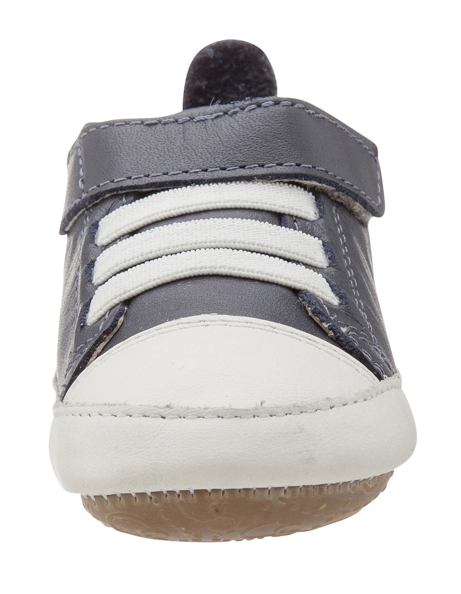 Old Soles Boy's and Girl's Kix Shoe Navy White Soft Leather Hook and Loop First Walker Baby Shoes