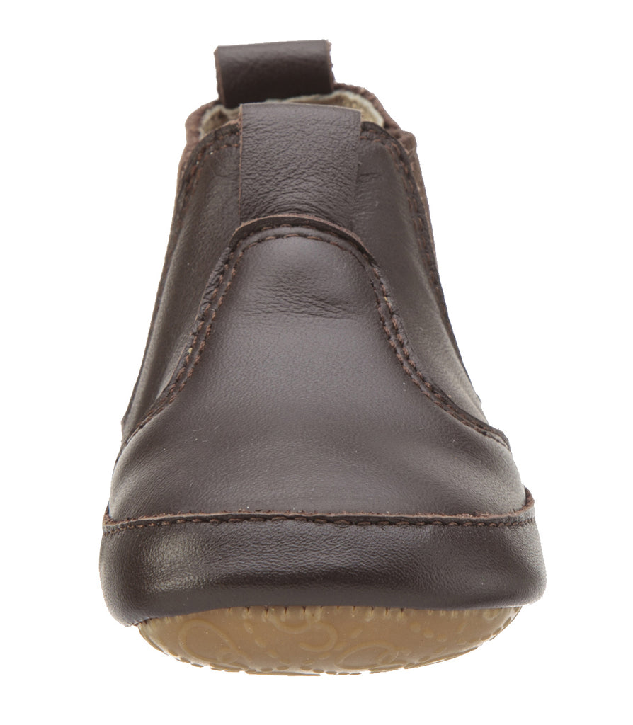 Old Soles Boy's and Girl's Bambini Local Brown Leather  Bootie Baby Shoes