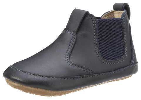 Old Soles Boy's and Girl's Bambini Local Navy Soft Leather Slip On Bootie Crib Walker Baby Shoes