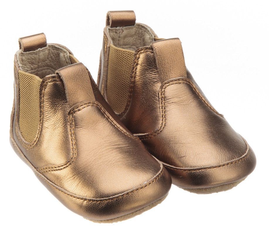 Old Soles Boy's and Girl's Bambini Local Old Gold Soft Leather Slip On Bootie Boots Crib Walker Baby Shoes