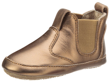 Old Soles Boy's and Girl's Bambini Local Old Gold Soft Leather Slip On Bootie Crib Walker Baby Shoes