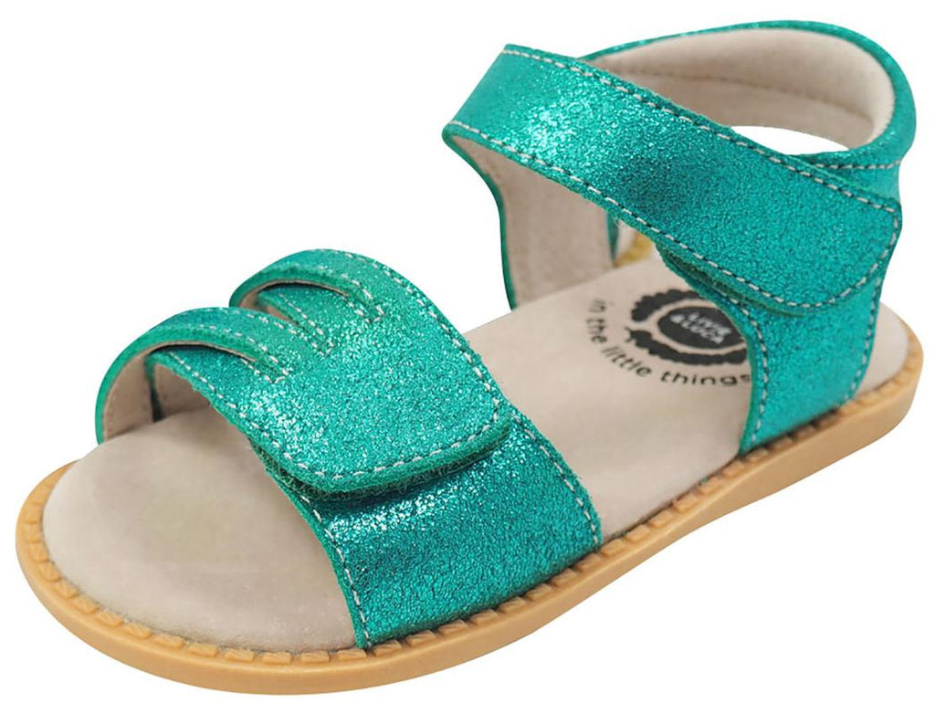 Livie & Luca Girl's Athena Aqua Shimmer Leather Sandals