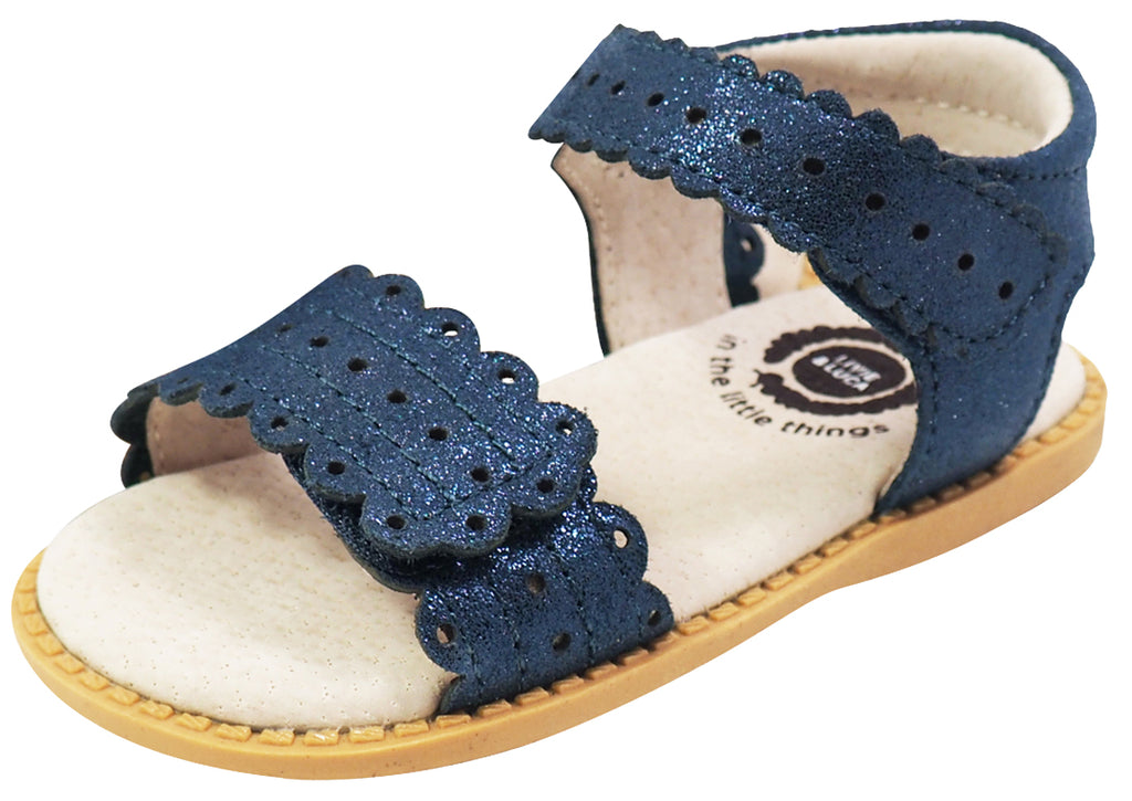 Livie & Luca Girl's Posey Navy Sparkle Leather Sandals