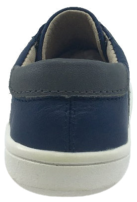 Old Soles Boy's 6018 Master Shoe Navy Leather Grey Wide Banded Slip On Sneaker Shoe