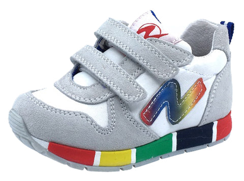 Naturino Girl's and Boy's Rainbow Sole Fashion Sneakers, Bianco/Rainbow