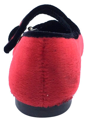 Luccini Girl's Red Velvet Mary Jane with Black Velvet Trim