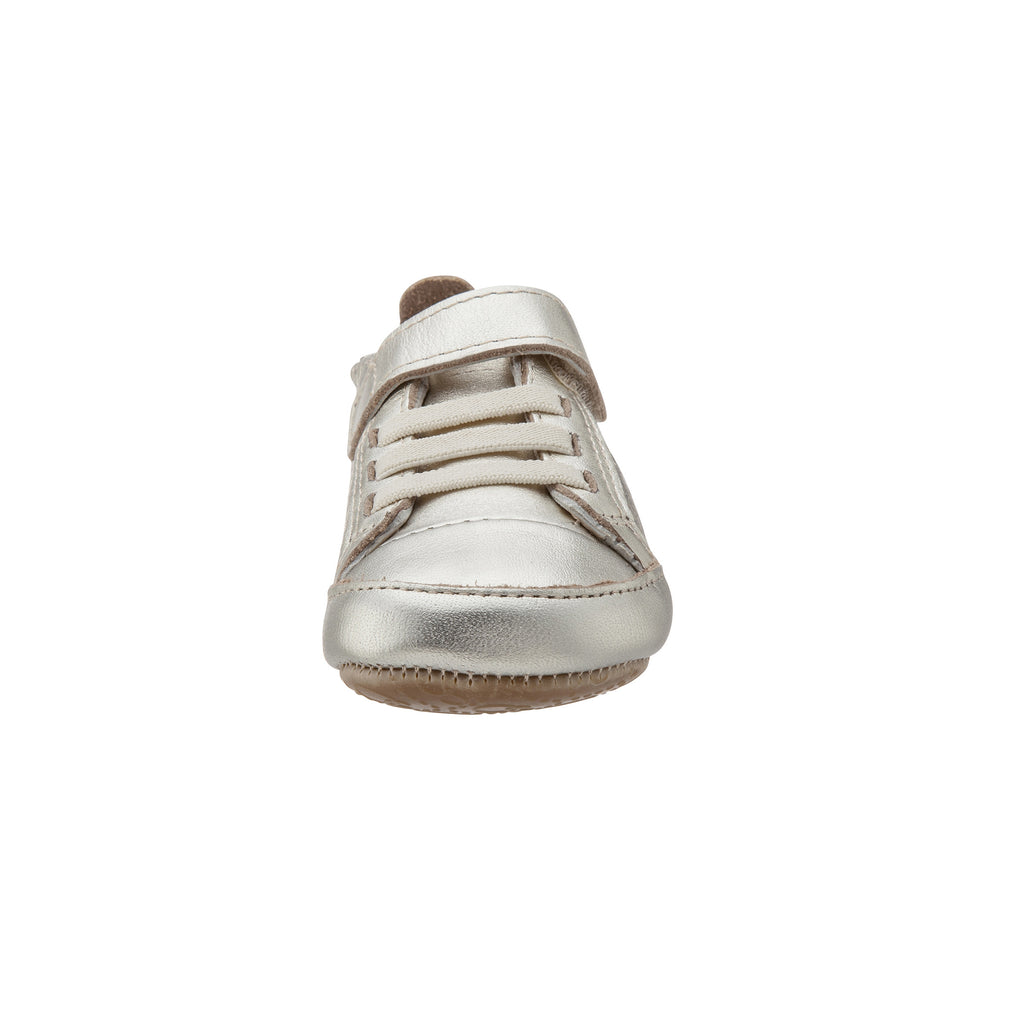 Old Soles Girl's and Boy's One-World Gold Soft Perforated Leather Hook and Loop First Walker Baby Shoes