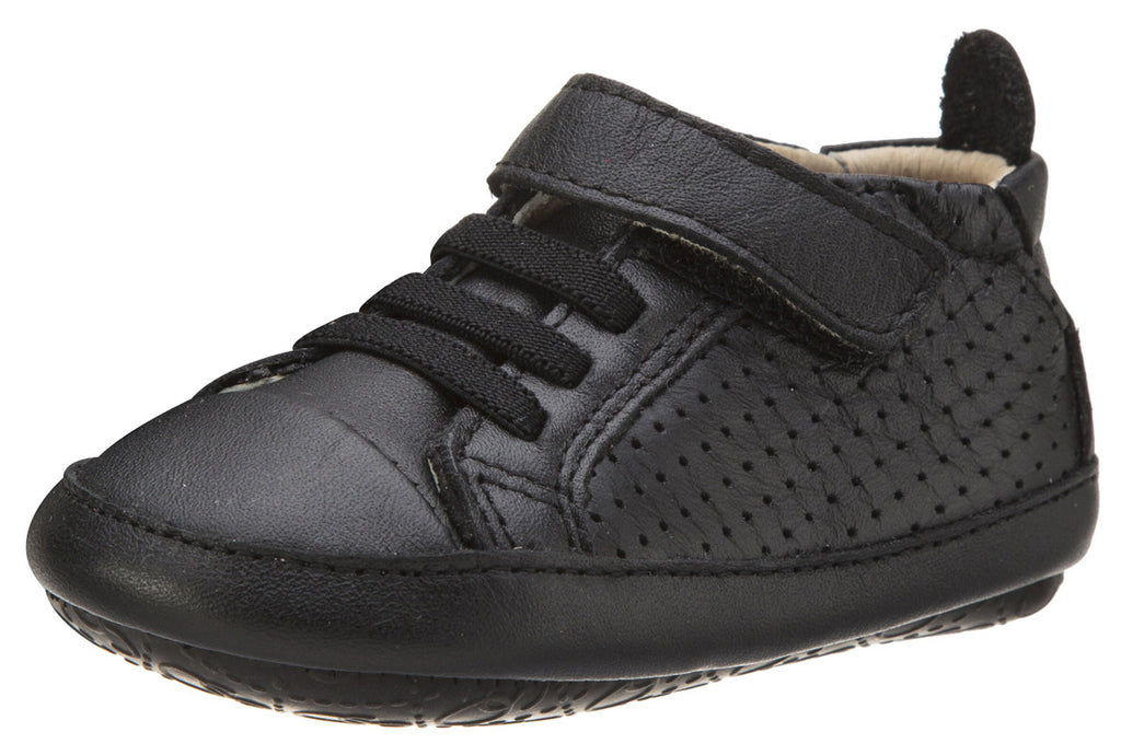 Old Soles Girl's and Boy's One-World Black Soft Perforated Leather Hook and Loop First Walker Baby Shoes