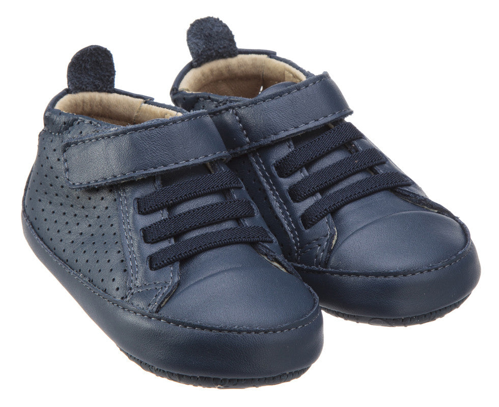 Old Soles Girl's and Boy's One-World Denim Soft Perforated Leather Hook and Loop First Walker Baby Shoes