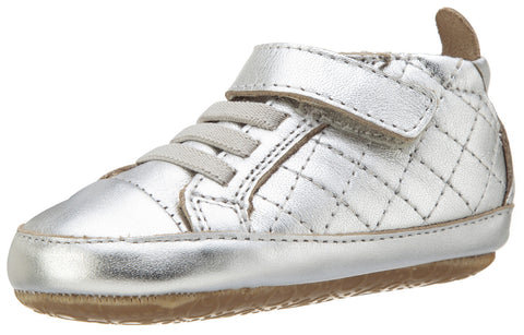 Old Soles Girl's and Boy's Quilt Bambini Silver Soft Quilted Leather Hook and Loop First Walker Baby Shoes