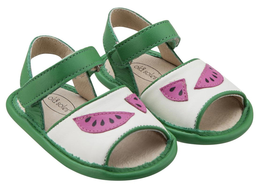 Old Soles Girl's 192 Trop Bambini Watermelon Smooth Green and White Leather Peep-Toe Hook and Loop Sandals