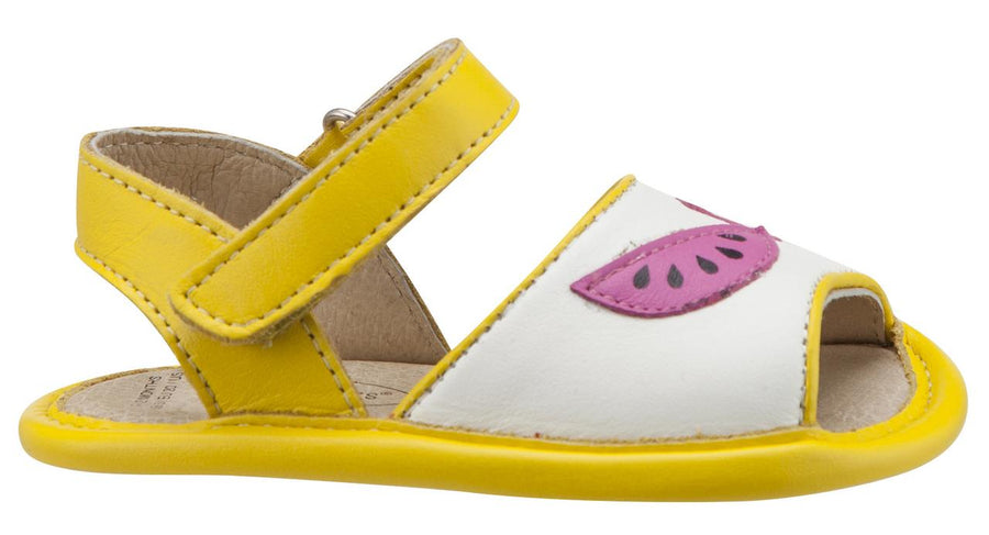 Old Soles Girl's 192 Trop Bambini Watermelon Smooth Yellow and White Leather Peep-Toe Hook and Loop Sandals