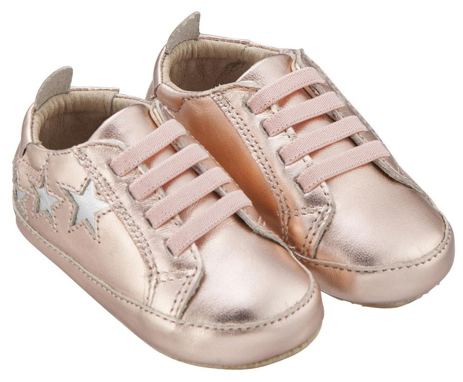Old Soles Girl's & Boy's 194 Bambini Stars Copper with Silver Stars Leather Elastic Slip On Sneakers