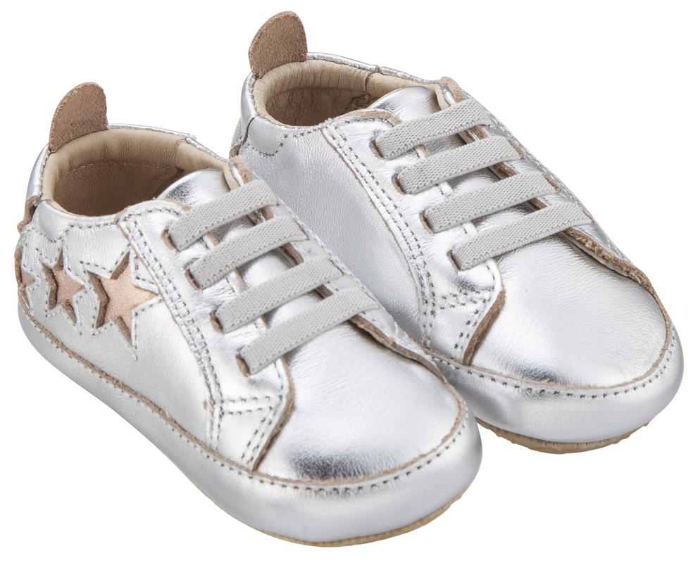 Old Soles Girl's & Boy's 194 Bambini Stars Silver with Copper Stars Leather Elastic Slip On Sneakers