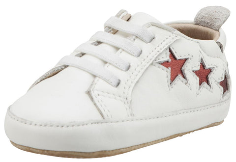 Old Soles Girl's & Boy's 194 Bambini Stars White with Dark Red Stars Leather Elastic Slip On Sneakers
