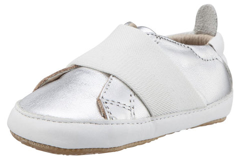 Old Soles Girl's & Boy's 195 Bambini Master Silver with White Band Leather Elastic Slip On Sneakers