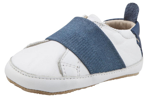 Old Soles Girl's & Boy's 195 Bambini Master White with Denim Blue Band Leather Elastic Slip On Sneakers