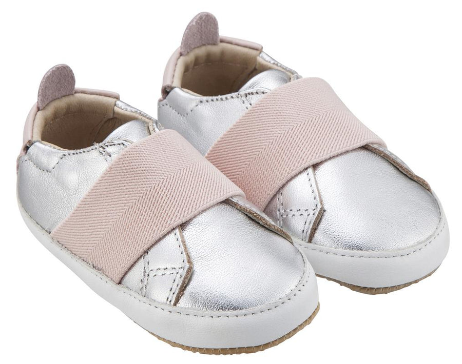 Old Soles Girl's & Boy's 195 Bambini Master Silver with Light Pink Band Leather Elastic Slip On Sneakers