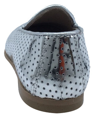 Hoo Shoes  Boy's and Girl's Smoking Loafer, Silver Perforated Leather