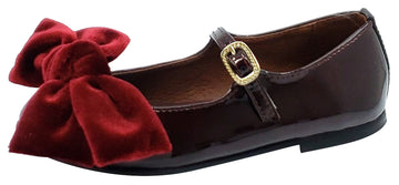 Clarys Girl's Patent Leather Mary Jane with Velvet Bow, Burgundy Patent