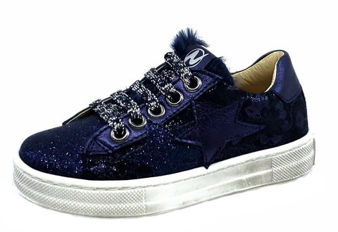 Naturino Girl's Blues Zip Sneakers, Glitter Bleu