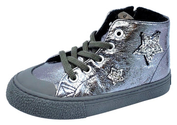 Victoria Tribu Metal Stars Hightop Metallic Silver for Girl's