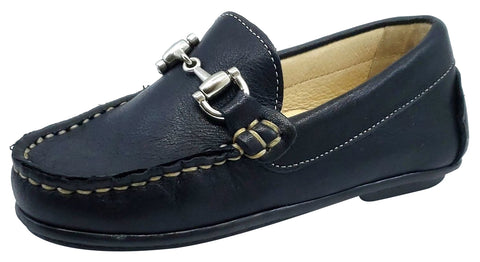 Andanines Boy's Chain Loafers, Nuit Navy Blue Black Outsole