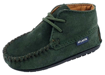 Atlanta Mocassin Girl's and Boy's Suede Booties, Hunter Green