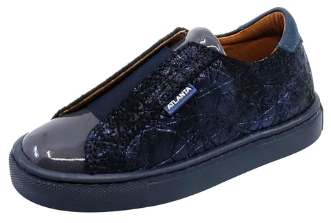Atlanta Mocassin Girl's Patent/Leather Slip-On Sneakers, Navy/Grey