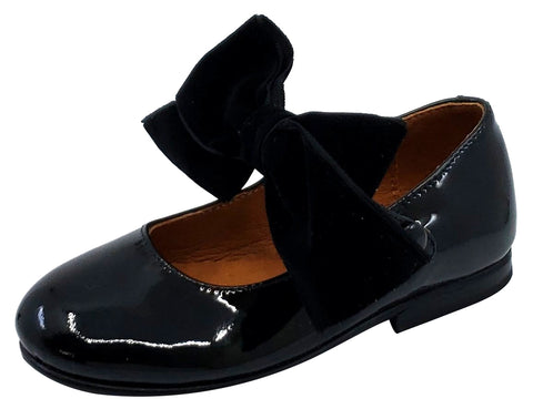 Atlanta Mocassin Girl's Snap Closure Velvet Bow Mary Jane, Black Patent