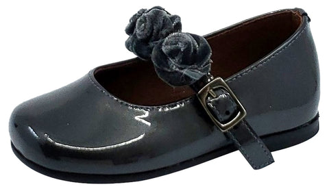 Clarys Girl's Flower Embellishment Buckle Mary Jane, Grey Patent
