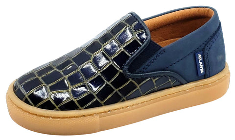 Atlanta Mocassin Girl's and Boy's Blue Embossed Leather Sneakers, Navy Blue/Gold