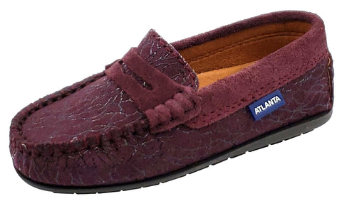 Atlanta Mocassin Girl's and Boy's Suede Embellished Penny Loafers, Burgundy Suede