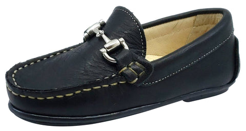 Andanines Boy's Chain Loafers, Black Leather and Black Outsole