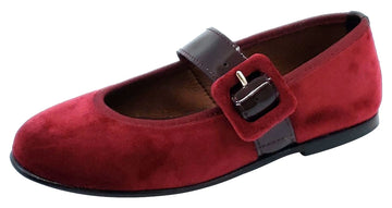 Clarys Girl's Velvet Buckle Mary Jane, Burgundy