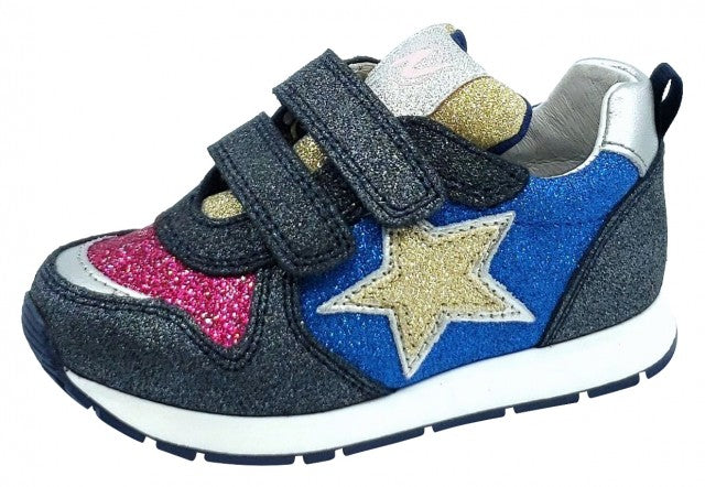 Naturino Boy's and Girl's 1C69 Pat Vl Sneakers, Vel.Glitter/Glitter Navy/Multi