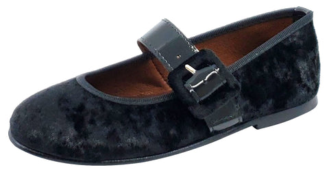 Clarys Girl's Velvet Buckle Mary Jane, Black
