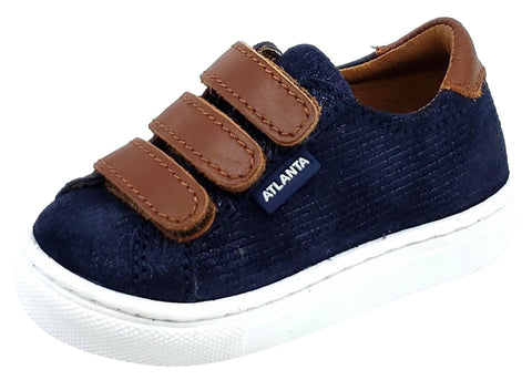 Atlanta Mocassin Boy's Triple Hook and Loop Closure Leather Sneakers, Navy/Brown