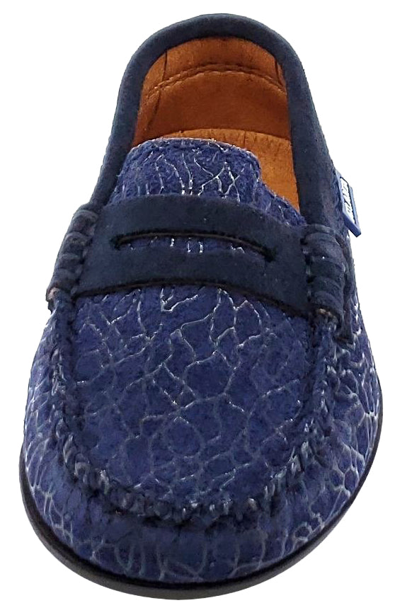 Atlanta Mocassin Girl's and Boy's Embellished Suede Penny Loafers, Navy Suede