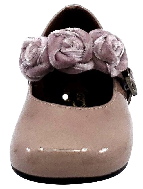 Clarys Girl's Flower Embellishment Buckle Mary Jane, Rose Patent