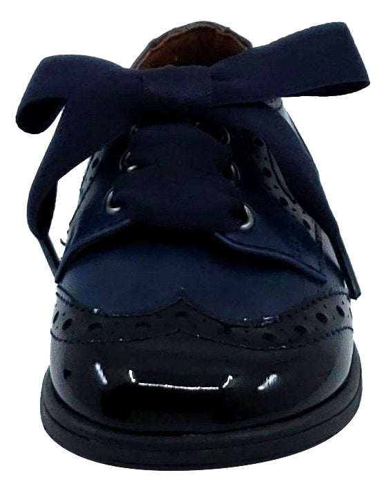 Clarys Boy's and Girl's Ribbon Tie Oxford, Marino Navy Patent