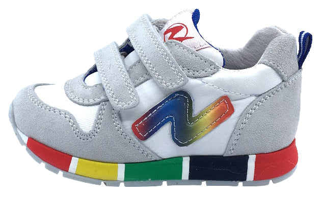 Naturino Girl's Rainbow Sole Fashion Sneakers, Bianco/Rainbow